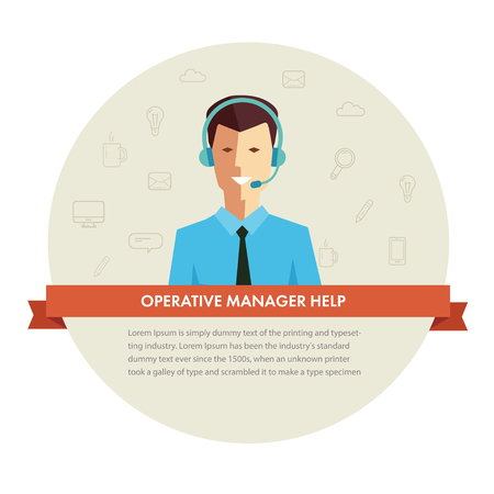 phone service: Male manager help banner. Vector eps 10