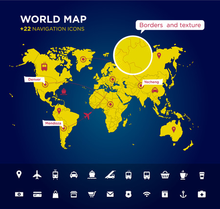 navigation icons: World map with tags, points and destinations, continents, designation, global, navigation icons. Vector textured background Illustration