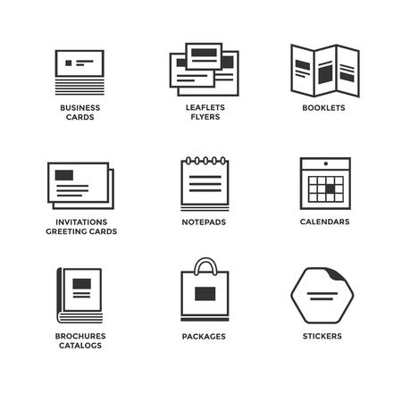 Pictogrammen van de verschillende printmedia. Grootte, indeling. Visitekaartje flyers kalenders wenskaarten brochures catalogi.