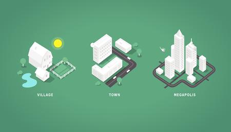 global village: Set of the isometric city buildings. Village town megapolis. 3d isometric symbols.