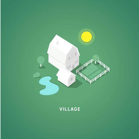 grass plot: Flat isometric buildings. Village. 3d isometric symbols.