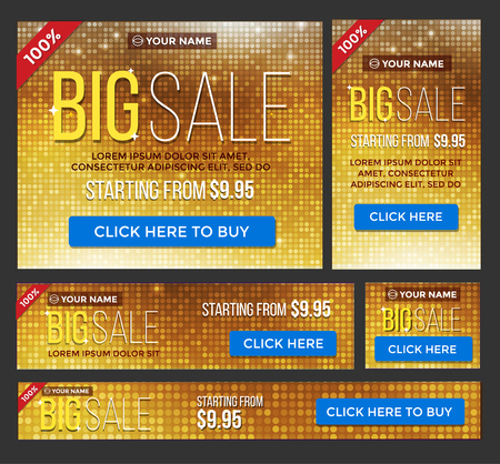 half cent: Big, half price and one day sale banner set. Luxury gold.