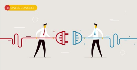 Businessmen connect connectors. Cooperation interaction. Vector illustration Eps 10 file. Success, Cooperation Çizim