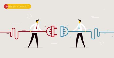 juntos: Los hombres de negocios se conectan los conectores. La interacción de Cooperación. Ilustración vectorial Eps 10 archivos. Éxito, Cooperación