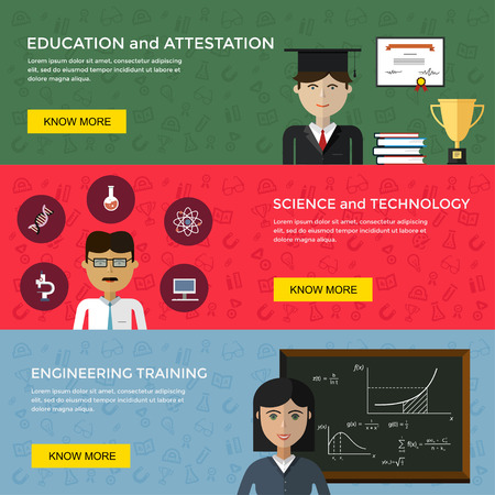 engineering and technology: Web banners for education and science projects in flat vector design. Teachers, lecturers, icons, chalk board