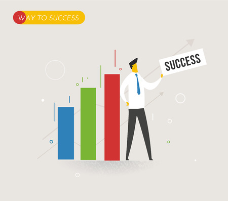success business: Businessman standing next to a diagram. Way to success. Business concept. Vector eps10