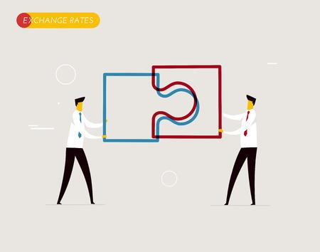 Businessmen connect puzzle. Joint efforts, success, union. Vector illustration Eps 10 file. Success Cooperation