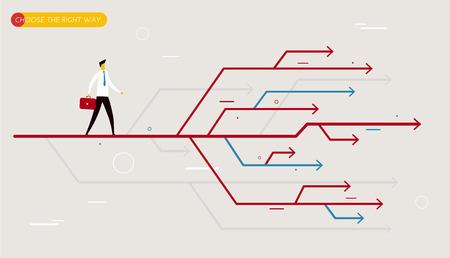 cruce de caminos: Hombre de negocios elige el camino correcto. Ilustración del vector Eps10. El éxito, la carrera