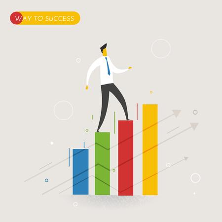 career success: Businessman climbing graph, career success. Vector illustration Eps10 file. Success, growth rates