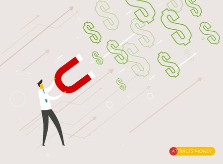 money cash: El hombre de negocios im�n atrae el dinero. Camino al �xito. Concepto de negocio. vector eps10 Foto de archivo