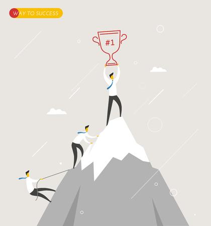 Biznesmen wspina się w górach, puchar w ręku. Zwycięskie sukces w przykry sposób. Koncepcja biznesowa. Wektor eps10
