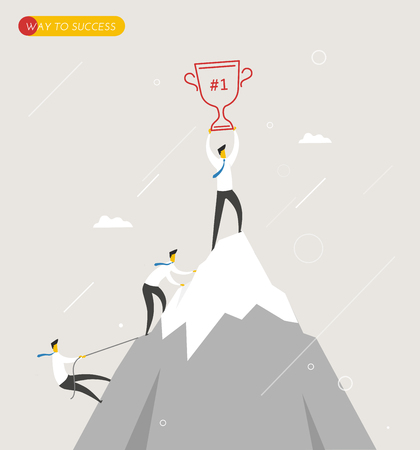 Businessman climbs the mountain, cup in hand. Winning success the hard way.  Business concept. Vector eps10 Illustration
