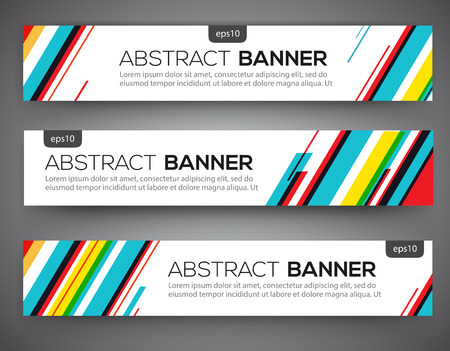 Abstract banner design, multicolored line style. Vector