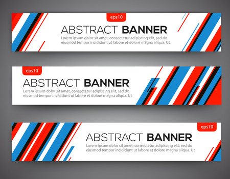 Abstract banner design, red and blue color line style. Vector