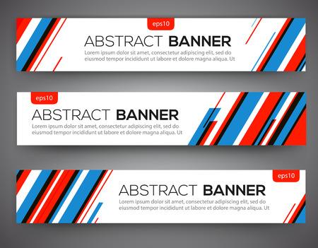 バナー デザイン、赤と青の色の線のスタイルを抽象化します。ベクトル