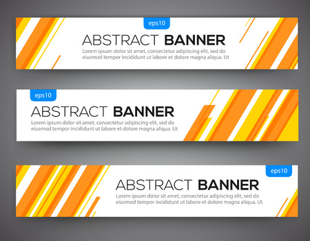 Abstract banner design, yellow and orange color line style. Vector Çizim