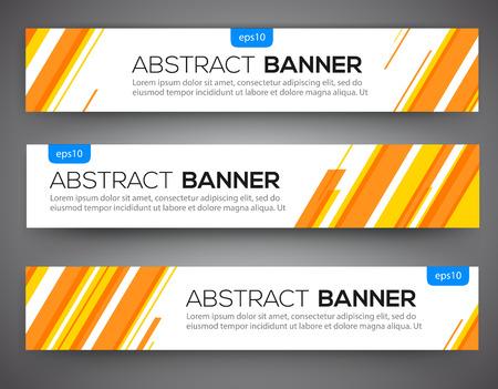 naranja: Resumen de diseño de banner, estilo de línea de color amarillo y naranja. Vector Vectores
