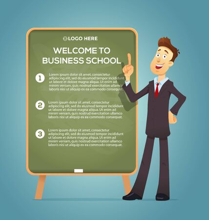 finger cartoon: Business coach at the blackboard. Vector eps 10. Training Business School. Text placeholder. Banner and poster