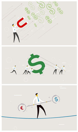 exchange rate: Set of business exchange rate money.  Vector illustration Eps 10 file. Success, Cooperation
