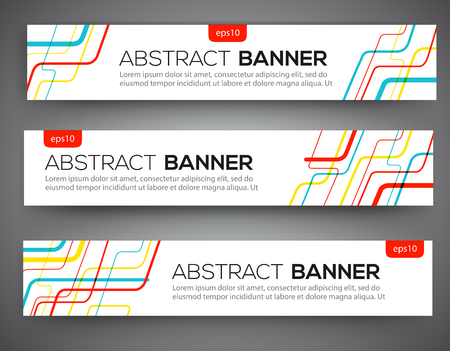 Abstract banner design, red yellow and blue color line style. Vector  イラスト・ベクター素材