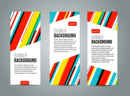 Abstract banner design, red yellow and blue color line style. Vector Vectores