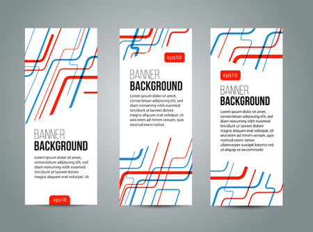 red line: Abstract banner design, red and blue color line style. Vector