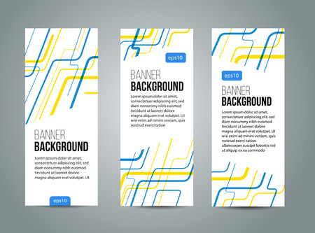 Abstract banner design, yellow and blue color line style. Vector
