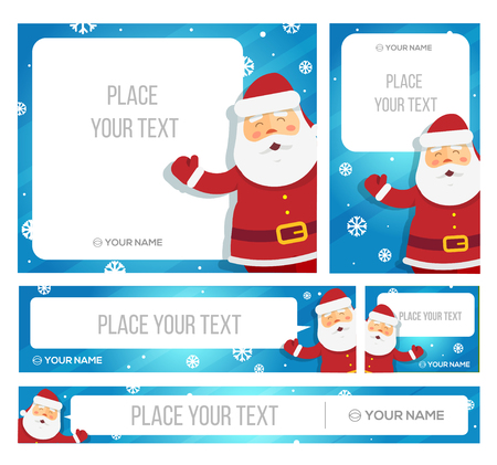 etiqueta: Santa Claus mantenga bandera con saludos de Navidad. Vector EPS 10
