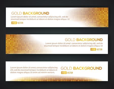 Gold sale banner set. Luxury gold. Vector eps 10