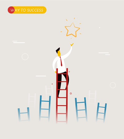 succes: Businessman climbs the stairs to get a star. Successful leadership. Vector illustration EPS10. Way to succes