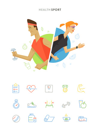 sports training: Athletic man and woman flat illustration fitness icon set. Flat health and sport symbol