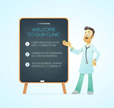 emergence: Portrait medical doctor on advertisement board. Character illustration. Vector Illustration