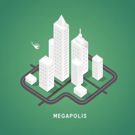 Izometryczne budynki miejskie. Symboli 3D izometryczne. Wektor