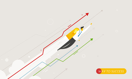 Businessman flying with jetpacks looking to the future. growth charts. Vector illustration Eps10 file. Success, growth rates