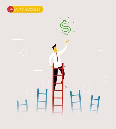 cielo: Hombre de negocios sube las escaleras para conseguir un dólar. El liderazgo exitoso. ilustración vectorial EPS10. Manera de éxito