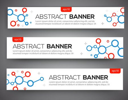 cyrcle: Abstract banner design, red and blue color line style. Structure scince molecule, DNA. Vector