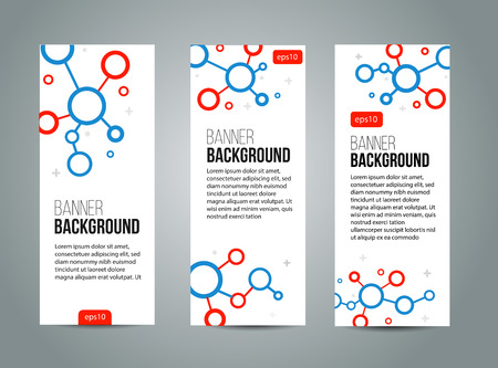 cyrcle: Abstract banner design, red and blue color line style. Scince. Vector