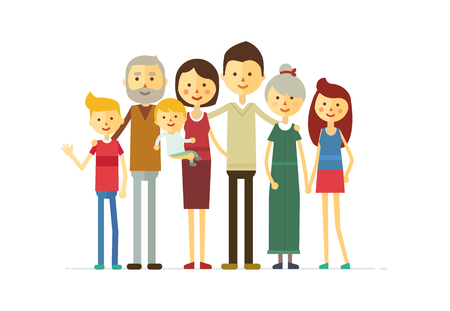 big family: family portrait at the simple style. flat cartoon vector eps