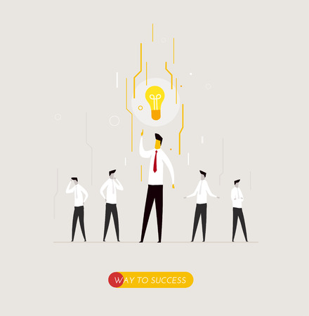 problem solution: Businessman had the idea in his head. light, problem solution. Vector illustration Eps10 file. Success, growth rates Illustration