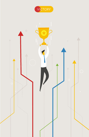 time sharing: Businessman holding a cup. Success, achieving goals, pride. Vector illustration Illustration