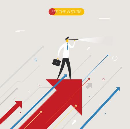 liderazgo: El hombre de negocios con el telescopio mirando hacia el futuro. tablas de crecimiento. ilustraci�n. �xito, las tasas de crecimiento