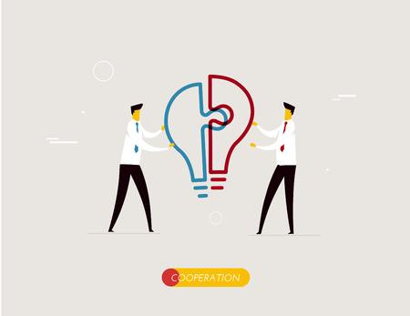 idea lamp: Businessmen connect puzzle lamp. Joint efforts, success, union, idea. illustration . Success Cooperation Illustration