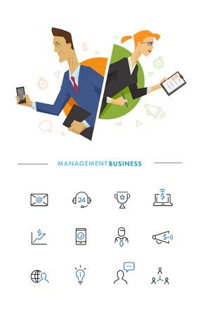 program: Business male and female user symbol illustration. Flat illustration.