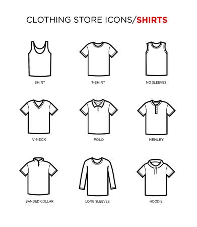 Koszulka ustawić ikonę. Sklep odzieżowy. Różne style. Ilustracje wektorowe