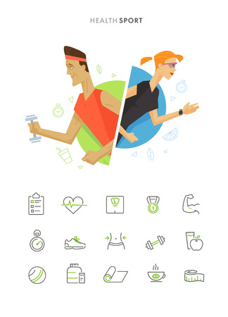 sport woman: Athletic man and woman flat illustration fitness icon set. Flat health and sport symbol