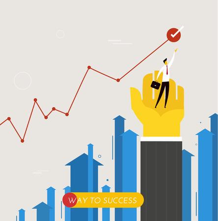 Zakenman die zich op zijn hand. prestaties. prestaties schema. illustratie. Succes, groeipercentages