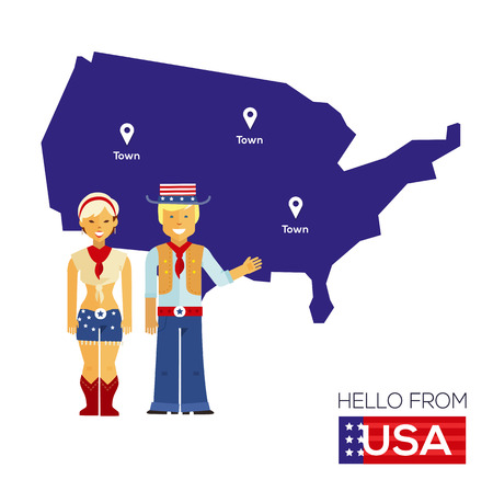 national: american couple in national costumes on a background map of USA. Travel Concept. Flat illustration Illustration