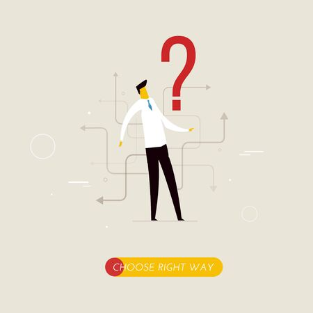 right path: Businessman looking for the right path in his career Illustration