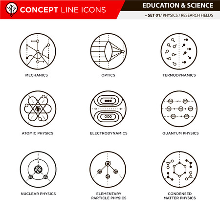 trajectory: Physics science theory and basic research fields line icons in white isolated background used for school and university education and document decoration,