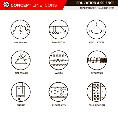 Physics basic concepts line icons in white isolated background used for school and university education and document decoration